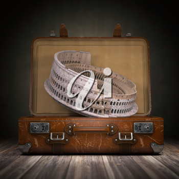 Trip to Rome. Travel or tourism to Italy concept. Coliseum and vintage suitcase. 3d illustration