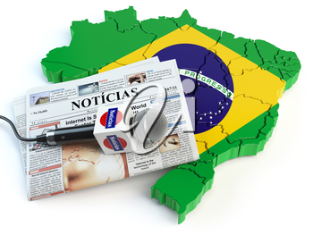 Brazilian news, press and  journalism concept. Microphone and newspaper with headline Noticias (portugal for: news)on the map in colors of the flag of Brazil. 3d illustration