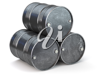 Black metal oil barrels isolated on white background. Oil and petroleum industry. 3d illustration