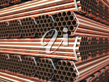Copper or bronze metal pipes in warehouse. Heavy non-ferrous metallurgical industry. 3d illustration