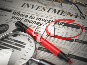 ETF is a best option to invest. Where to Invest concept, Investmets newspaper with loupe and marker. 3d illustration