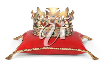 Golden crown with jewels on red velvet pillow for coronation isolated on white. 3d illustration