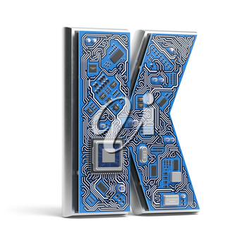 Letter K.  Alphabet in circuit board style. Digital hi-tech letter isolated on white. 3d illustration