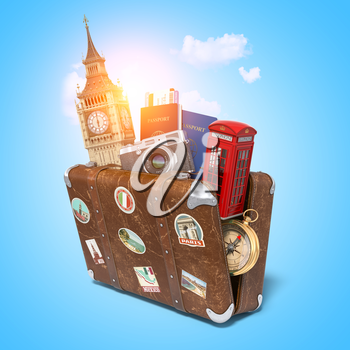 Trip to London, Great Britain.Vintage suiitcase with symbols of UK London, Big Ben tower and red booth. Travel and tourism concept. 3d illustration