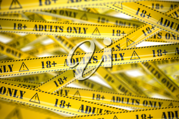 Adults only, yellow warning tapes with inscription. 3d illustration