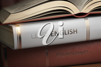 Learn English. Books and textbooks for English studying.  3d illustration