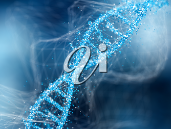 DNA molecule on blue abstract background.. Concept of biochemistry. 3d illustration