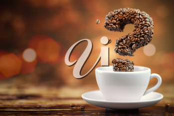 Coffee beans in a form of question mark and white cup. FAQ, ask and information about coffee. 3d illustration