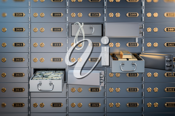 Open safe deposit box with money, jewels and golden ingots. Financial banking investment concept. 3d illustration