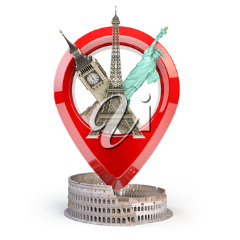 Travel and tourism concept. Pin pointer with famous tourist attractions isolated on white. Eiffel tower, big ben, statue of liberty and coliseum. Geo tag. 3d illustration