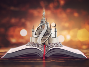 Open story book with fairy tale castle. 3d illustration