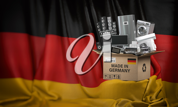 Household appliances made in Germany. Home kitchen technics in a cardboard box producted and delivered from Germany. 3d illustration