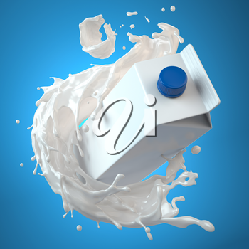 Mockup of milk tetra pack. Carton box  or packaging and splash of milk on blue background. 3d illustration