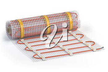 Mat electric floor heating system isolated on white. Heated warm floor. Underfloor heating. 3d illustration