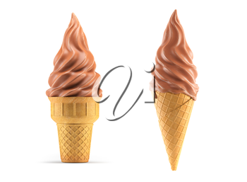 Ice cream in chocolate glaze waffle cone isolated on white. 3d illustration
