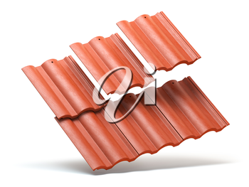 Red roof tiles isolated on white background. 3d illustration