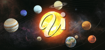 Solar system scheme. The sun with orbits of planets on the Universe star background. Elements of this image furnished by NASA. 3d illustration