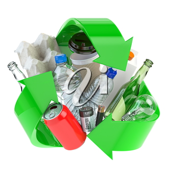 Recycle sign with different types of waste.  Garbage and  trash sorted by plastic, e-waste, metal, glass and paper. Ecology and green energy concept. 3d illustration