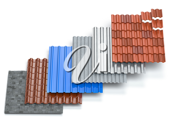 Different types of roof coating. Sheet metal  profiles, ceramic tiles, asphalt roofing shingles and gypsum slate isolated on white background. 3d illustration
