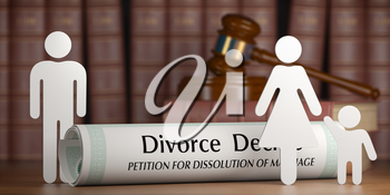 Divorce and custody child concept. Divorce decree, gavel and family silhouette on book background. 3d illustration