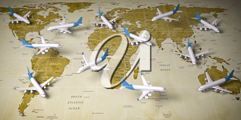 Airplanes on world  map. Airline flight routes and airport travel and tourism background. 3d illustration