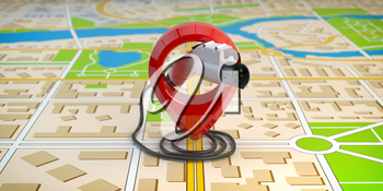 Electric car charging point location. Car charger power plug with pin on the map of a city. 3d illustration