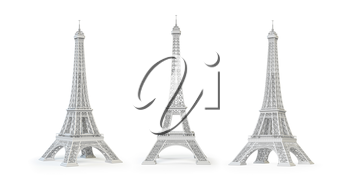 White Eiffel Tower isolated.  3d illustration