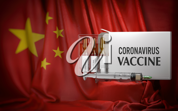 Coronavirus vaccine on flag of China. Box with vials and syringe. 3d illustration