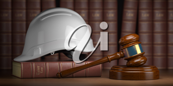 Labor law concept. Gavel  with concstruction hard hat and books. 3d illustration