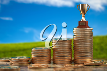 Trophy cup on stacks of coin.   Concept of success, growing business and profit. 3d illustration