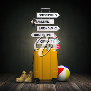 Coronavirus crisis in travel and tourism industry concept.  Suitcase and arrows with  travel directions closed due to pandemic. 3d illustration
