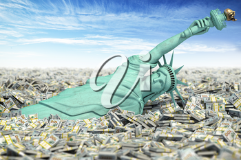 Crisis and inflation in USA, no limit on Fed money injections. Statue of Libety falls to pile of dollar packs. 3d illustration