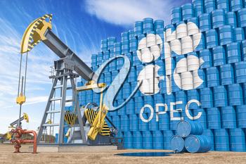 OPEC  Organization of the Petroleum Exporting Countries. Oil pump jack and oil barrels with OPEC flag. 3d illustration