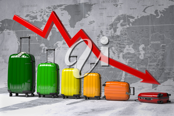 Crisis in travel and tourism industry. Graph and diagram from suitcases on the map of world. 3d illustration