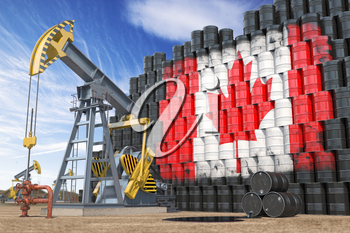 Oil production and extraction in Canada. Oil pump jack and oil barrels with UCanadian flag. 3d illustration