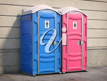 Portable plastic toilet or public facilities on the street. 3d illustration