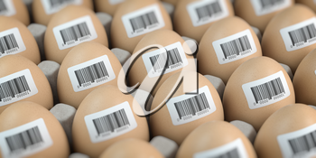 Chicken eggs with barcode stickers. Quality control concept. 3d illustration