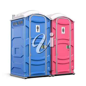 Portable plastic toilet or public facilities for using in public places isolated on white. 3d illustration