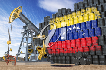 Oil production and extraction in Venezuela. Oil pump jack and oil barrels with Venezuelan flag. 3d illustration