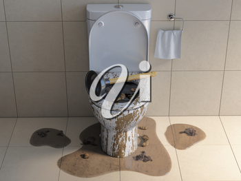 Clogged overflowing toilet bowl with rubber plumber. 3d illustration