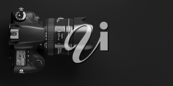 Professional digital photo camera on black background. Top view and space for text. 3d illustration