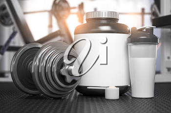 Whey protein can with dumbbell and shaker on the floor of gym. Mock up. Sports bodybuilding supplements and nutrition. 3d illustration