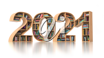 2021 new year education concept. Bookshelves with books in the form of text 2020. 3d illustration
