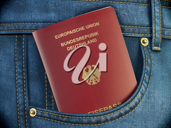 Passport of Germany in pocket jeans. Travel, tourism, emigration and passport control concept. 3d illustration