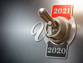 2021 new year change. Vintage switch toggle with numbers 2020 and 2021. 3d illustration