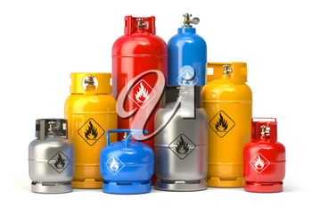 Different types of  gas bottles isolated on white background. 3d illustration