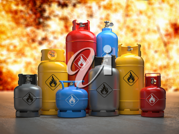Gas tanks or bottles on explosive flame and fire background. Danger of using gas concept, 3d illustration
