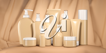 Luxury cosmetic products in beige package, tubes and bottles on beige background. 3d illustration