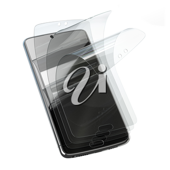 Smartphone screen protector glass or film cover. Transparent multi layered glass shield for mobile phone isolated on white. 3d illustration