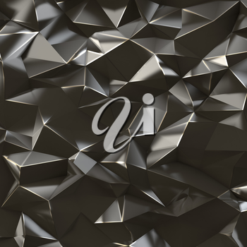 Abstract black metal triangles background, 3d render illustration